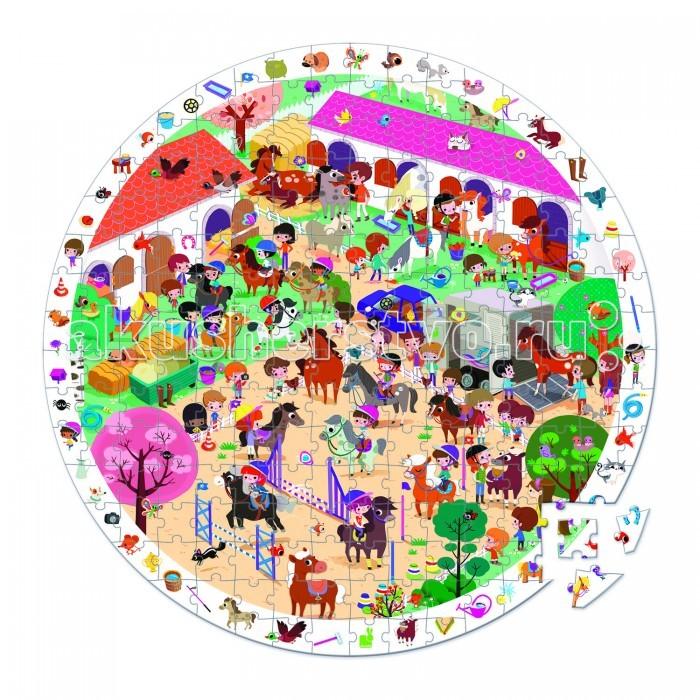 Janod Пазл Лошадки большой в круглом чемоданчике (208 элементов)