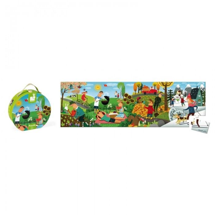Купить Пазлы, Janod Пазл Времена года панорамный в круглом чемоданчике (36 элементов)