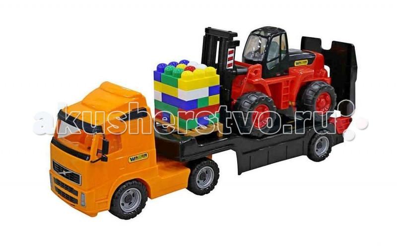 Wader Автомобиль бортовой + автокарМашины<br>Автомобиль бортовой+автокар+конструктор Супер-Микс (30 элементов). Это целый набор спецтехники и конструктора для увлекательной игры в стройку. 3 самостоятельных и независимых игрушки для разнообразных игр: автомобиль бортовой, автокар и конструктор Супер-Микс (30 элементов). Есть все необходимое, чтобы начать грузить детали в грузовик для перевозки и постройки дома. У грузовика отпускается задняя стенка кузова, минипогрузчик может производить погрузку и разгрузку. Конструктор в комплекте выполнен в ярких деталях.   Грузовик с открывающимися бортами имеет длину - 44 см, ширину - 19 см, высоту - 24 см. Детский автопогрузчик имеет длину - 48 см, ширину - 21 см, высоту - 22 см. Автопогрузчик можно использовать для загрузки различных грузов - подъемник легко двигается. Как у настоящего автопогрузчика грузовик укомплектован поддоном. Кузов игрушки грузовика имеет 3 откидывающихся борта, поэтому погрузку можно осуществлять с любой стороны, что очень интересно для игры. Кабина игрушки грузовика детально копирует вид грузовика Volvo. С помощью этих машинок Ваш ребенок сможет организовать свою маленькую транспортную компанию или поиграть в организацию склада.   Наступает весна и все дети выходят играть на улицу. Для игр во дворе и в песочнице идеально подойдут самосвалы, автомобили с краном, лесовозы. Грузовик с автокаром позволяет в полной мере имитировать реальные погрузочно-разгрузочные работы, дает возможность применить ребенку свою фантазию, помогает разыгрывать различные ситуации. Это идеальная игрушка для игр на открытом воздухе и отлично подойдет для игры на даче, во дворе, на загородных участках, на площадках, в песочницах. Игрушки Wader отличаются высоким качеством, дизайном и функциональностью. Яркий и красивый дизайн понравится Вашему малышу!   Играть с машинами понравится любому малышу и доставит удовольствие как мальчику, так и девочке. Кто сказал, что девочки не могут управлять машинами? Им также как и мальчишкам бу