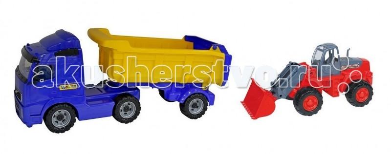 Машины Wader Автомобиль-самосвал с полуприцепом + трактор-погрузчик wader трактор гигант
