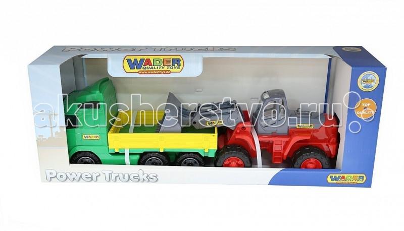 Wader Автомобиль бортовой + трактор-погрузчикАвтомобиль бортовой + трактор-погрузчикАвтомобиль бортовой+трактор-погрузчик. Это целый набор спецтехники- 2 самостоятельные и независимые игрушки для разнообразных игр. Детский трактор имеет крепкие колеса на металлической оси, мощный корпус с прозрачной кабиной и движущийся ковш-грейдер, которым можно грести песок, расчищать дорожки в песочнице, проводить погрузочные и строительные работы. Есть все необходимое, чтобы начать грузить строительные материалы в грузовик для перевозки и постройки дома. На этом бортовом грузовике можно перевозить и трактор-погрузчик, и автокар, и мотоцикл Харлей. Кузов грузовика имеет 3 откидывающихся борта, поэтому погрузку можно осуществлять с любой стороны, что очень интересно для игры.   Наступает весна и все дети выходят играть на улицу. Для игр во дворе и в песочнице идеально подойдут самосвалы, автомобили с краном, лесовозы. Грузовик позволяет в полной мере имитировать реальные погрузочно-разгрузочные работы, дает возможность применить ребенку свою фантазию, помогает разыгрывать различные ситуации.   Это идеальная игрушка для игр на открытом воздухе и отлично подойдет для игры на даче, во дворе, на загородных участках, на площадках, в песочницах. Игрушки Wader отличаются высоким качеством, дизайном и функциональностью. Яркий и красивый дизайн понравится Вашему малышу!   Играть с машинами понравится любому малышу и доставит удовольствие как мальчику, так и девочке. Кто сказал, что девочки не могут управлять машинами? Им также как и мальчишкам будет очень интересно управлять этой машиной. Эта машина способна решать большие воспитательные задачи, развивает много хороших качеств: помощь друзьям и взрослым, ответственность, заботу, доброту и внимание. Оцените это и учите детей играть!   Детская машина Wader - это пластмассовая игрушка, изготовленная из высококачественного сырья. В производстве этих машин используются безопасные материалы. Пластик не деформируется и не выгорает под солнцем.<b