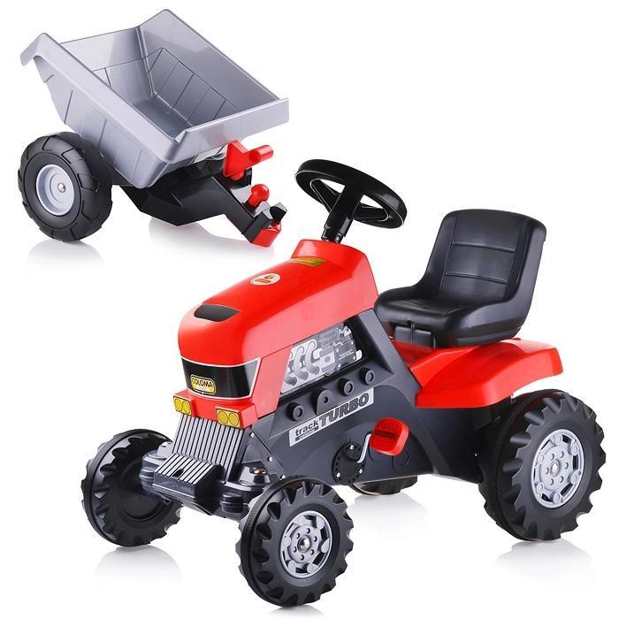 Coloma Трактор Turbo с полуприцепомТрактор Turbo с полуприцепомПедальный трактор Coloma Turbo с полуприцепом станет для чада любимой вещью и желанным подарком.   С присущей серьезностью Coloma отнеслись к вопросу создания тракторов. Выглядит эта игрушка как настоящая серьезная техника, с помощью которой Ваш ребенок может играть и чувствовать себя взрослым и важным работником. А на работу он может пока устроится к своим родителям. Это замечательный шанс помочь вам во дворе дома или на даче. Давайте задания своим детям и Вы будете приятно удивлены с какой ответственностью они подходят к выполнению домашних обязанностей.   Удобный маневренный трактор на педалях изготовлен из прочного пластика. Все детали выполнены из качественной пластмассы. Движется трактор с помощью педалей за счет прочной системы цепного привода, развивая мышцы ног ребенка и координацию движений. Большие широкие колеса c глубоким протектором позволяют трактору передвигаться по любой поверхности дороги – асфальту, лужам, грунту, камням, песку и траве. У трактора – 4 колеса: 2 больших задних и 2 передних поменьше, у прицепа - 2 колеса с обеих сторон, в котором можно перевозить любимые игрушки, листву, снег и песок. Широкое и высокое сиденье со спинкой придают этому трактору особую значимость. Руль легко поворачивается, что обеспечивает простоту в управлении, оснащен клаксоном. Уникальные крепежи впереди на бампере, между трактором и прицепом позволят использовать трактор с прицепом и без него, прикреплять другой транспорт на буксир.   Эта игрушечная модель так близка к оригинальному трактору. Ваш ребенок будет горд своим транспортом, а Вы будете гордиться своим помощником. Кроме пользы от физических нагрузок, этот серьезный транспорт способен решать серьезные воспитательные задачи, развивает много хороших качеств: внимательность, ответственность и желание помогать родным. Педальные машинки и трактора, в отличие от электрических, развивают и укрепляют ребенка физически, воспитывают характер и умение пр