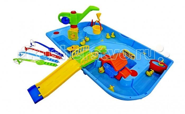 Wader Игра с водой Поймай уточку для 4 игроковИгра с водой Поймай уточку для 4 игроковВ игру Поймай уточку для 4-х игроков входят 12 уточек, 4 удочки, машинка, домик, лодочка, подъемный кран, мостик, горка, заслонки.  Увлекательная настольная игра с водой по принципу детской рыбалки. Кнопка на крышке домика запускает моторчик, и, благодаря постоянному движению воды, уточки будут все время перемещаться по бассейну. Тренируйте ловкость и скорость реакции, подхватывая плывущих уточек. Побеждает самый ловкий игрок - у которого больше всего утят.   Игру с водой Поймай уточку можно установить как на улице, так и в любой комнате. Простой монтаж. Все детали выполнены из качественной пластмассы. Идеальный европейский пластик, не подверженный выгоранию на солнце и деформации от перепада температур.   Кроме пользы от развлечений и игры, эта игра способна решать серьезные воспитательные задачи, развивает много хороших качеств: дружелюбие, заботу, внимательность, ответственность, смелость, терпение и увлеченность. Малыши будут учиться взаимодействовать друг с другом и приобретут навыки игры в коллективе. Украсит любую дачу и станет любимым местом для игр Вашего ребенка и его друзей. Оцените это сами!   Рекомендуем устанавливать на ровной устойчивой поверхности.   Замечательный набор очень функционален, подходит для веселой игры с песком и водой. Теперь ребенок с удовольствием и удобством будет лепить куличики, строить песочные замки, а налив водичку, станет варить кашку. А если захочется уплыть в открытое море, то можно запустить кораблик. Ребенок будет увлечен игрой как дома и на даче, так и на берегу моря или реки.  Материал: высококачественный упрочненный пластик. В производстве используются безопасные материалы.   Пластик не деформируется и не выгорает под солнцем.  В комплекте батарейка для моторчика.<br>
