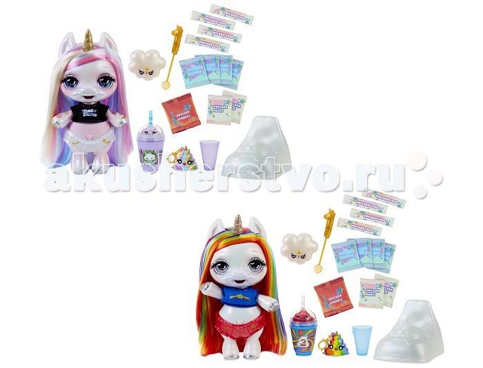 Poopsie Surprise Unicorn Игровой набор Единорог РадужныйИгровые наборы<br>Poopsie Surprise Unicorn Игровой набор Единорог Радужный – это игровой набор с очаровательными куколками-единорожками и более 20 сюрпризами!  Чудеса начинаются уже при раскрытии упаковки, как у любой игрушки от компании MGA. Потяните за специальную стрелочку на упаковке и постепенно разматывайте: на обратной стороне обёртки вы будете находить пакетики с сюрпризами: маечку, шортики, пакетики с едой, бутылочку, расческу.  Когда обёртка размотается, вы увидите белый непрозрачный контейнер, внутри которого прячется зубная щетка, горшок и сама куколка-единорожка! У нее огромные глаза с пушистыми ресничками, блестящий рог и мягкие волосы. Такую куколку весело наряжать, расчесывать её волосы, делать прически и играть с ней. Но это еще не все: единорожку также можно кормить! Приготовьте еду для единорожки из специальных ингредиентов набора согласно инструкции, передвиньте переключатель на её спинке в положение «кормление» и покормите, как самого настоящего пупса! Правда здорово? И на этом волшебство не заканчивается! Теперь передвиньте переключатель единорожки в положение «качать», покачайте, снимите её шортики, усадите на горшок и нажмите кнопку-сердечко на животике: в горшке появится сюрприз – разноцветный слайм! Он может принимать любую форму, а еще его можно носить с собой в брелке из набора.  Особенности:   привлекательный внешний вид мягкие волосы единорожки можно расчесывать и делать из них прически игрушку можно кормить она умеет делать слайм для работы игрушки батарейки не требуются аксессуары в комплекте. В комплекте:   кукла единорог маечка шортики ингредиенты для слайма ложечка горшок зубная щетка бутылочка мерный стакан брелок расческа инструкция.