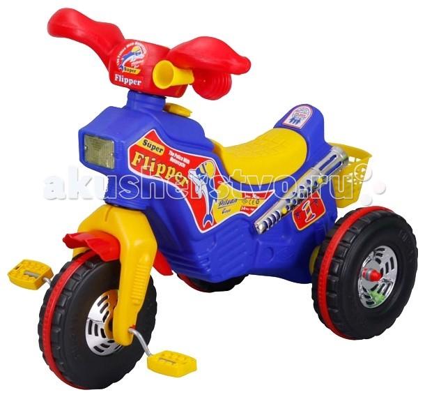 Велосипед трехколесный Pilsan FlipperFlipperВелосипед трехколесный Pilsan Flipper - особенно понравится мальчикам, хотя и девочки тоже не откажутся на нем прокатиться.   Дизайн велосипеда напоминает небольшой мотоцикл с почти настоящей фарой, серебристым глушителем, бензобаком для топлива и клаксоном-пищалкой, чтобы предупреждать всех о своем появлении. Велосипед очень легкий, благодаря чему малышу им удобно управлять, а Вам – удобно выносить его на улицу по нескольку раз в день.  Широкие пластиковые колеса с ребристой поверхностью обеспечивают устойчивость велосипеда, на колесах одеты ремни, чтобы ребенок не мог сильно разогнаться.  Удобное пластиковое сиденье с нескользящей поверхностью немного поднято сзади, чтобы ребенок не соскальзывал при движении. Слева от руля расположен яркий красивый клаксон-пищалка для подачи звуковых сигналов. Сзади расположен небольшой багажник – пластиковая корзинка, чтобы можно было перевозить или взять с собой на улицу любимые игрушки.  Переднее колесо закрыто защитным козырьком, предохраняющим одежду малыша от грязи и воды, летящей с колеса.<br>