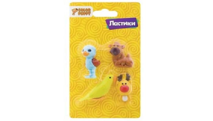 Канцелярия Color Puppy Ластики Мир животных 4 шт.