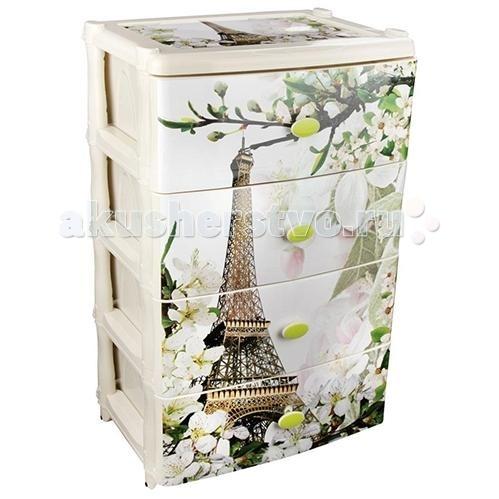 Ящики для игрушек Альтернатива (Башпласт) Комод широкий Весна в Париже 4-х секционный комод лидер 3 2