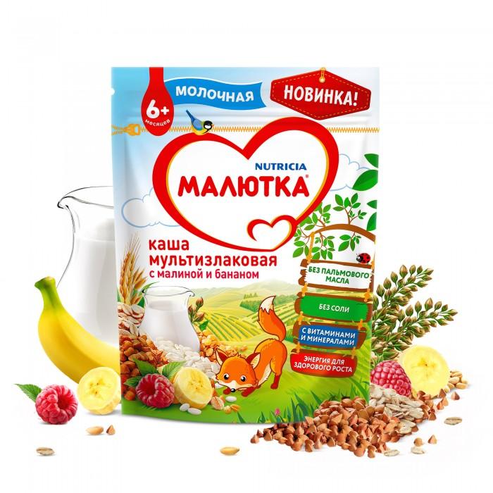 Каши Малютка Каша молочная мультизлаковая с малиной и бананом с 6 мес. 220 г