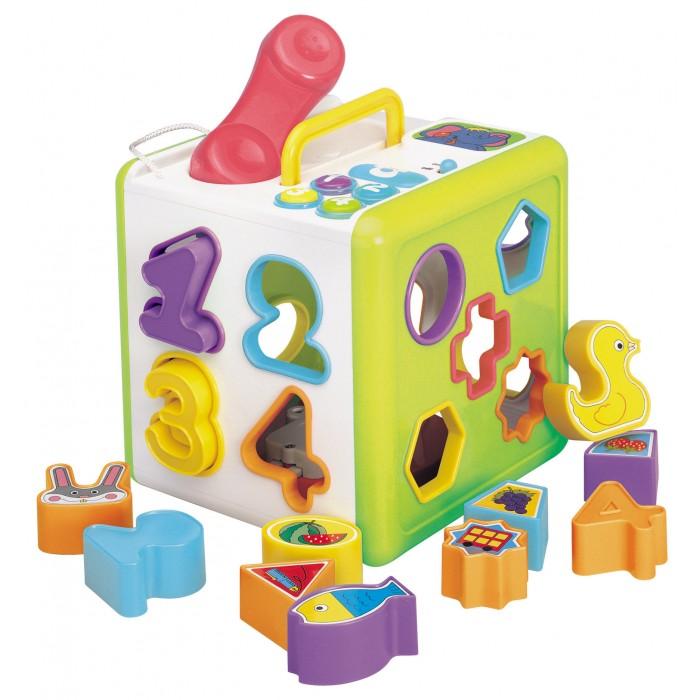 Сортер Red Box Куб 23880-1Сортеры<br>Сортер Red Box Куб 23880-1 надолго увлечет вашего ребенка.  Игрушка куб-сортер учит ребенка различать форму и цвет предметов, логически мыслить, развивает моторику.   Модель имеет 18 отверстий и фигур для сортировки в виде цифр, геометрических фигур, птиц, рыб, животных и т.д.  Сортер снабжен звуковыми и световыми эффектами. Работает от 2-х батареек типа АА (входит в комплект).