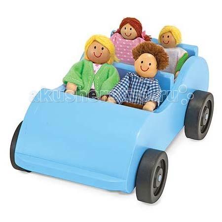 Деревянная игрушка Melissa &amp; Doug Машина и кукольная семьяМашина и кукольная семьяДеревянная игрушка Melissa & Doug Машина и кукольная семья - человечки - мужчина, женщина, мальчик и девочка помогут вашему ребенку погрузится в игровой мир и создать свой увлекательный игровой сюжет.  В набор входит дорожная деревянная машинка и четыре куклы.  Сделано из отборных твердых пород дерева и окрашено безопасной, нетоксичной краской.<br>