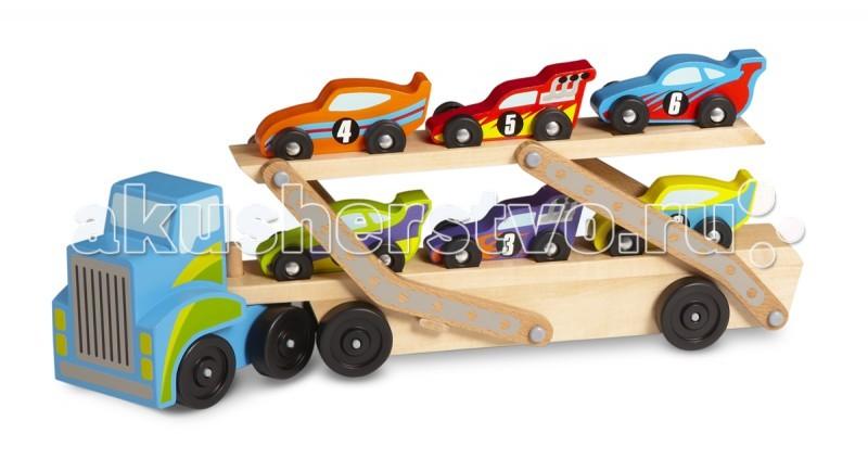 Деревянная игрушка Melissa &amp; Doug Классические игрушки погрузчикКлассические игрушки погрузчикДеревянная игрушка Melissa & Doug Классические игрушки погрузчик - гигантский тягач укомплектован шестью автомобилями. Разные по цвету, дизайну, и цифры по бокам.   Погрузочная платформа подвижная, благодаря чему игра становится еще интересней и увлекательней.<br>