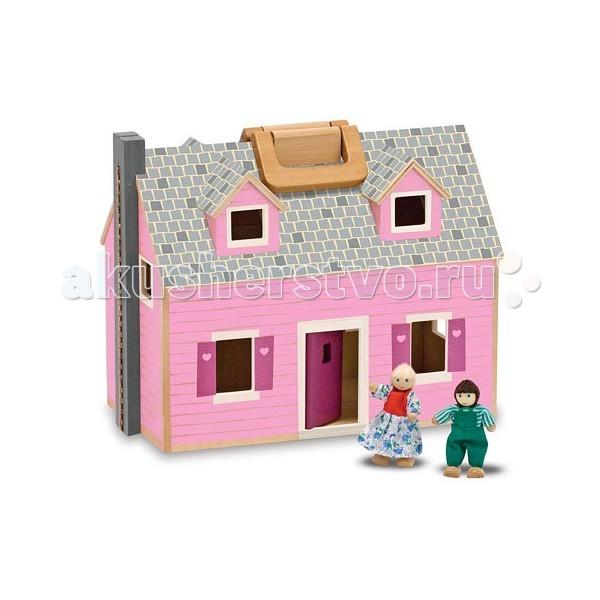 Деревянная игрушка Melissa &amp; Doug Создай свой мир Дом для куколСоздай свой мир Дом для куколДеревянная игрушка Melissa & Doug Создай свой мир Дом для кукол - раскладной домик от которого Ваша малышка будет в полном восторге, ведь с домиком можно играть не только дома, но и брать с собой на прогулку или в поездку.  В этом доме живут два деревянных человечка. Человечки имеют подвижные части. В комплекте одиннадцать деревянных предметов мебели. Кукольный дом можно открыть, чтобы было удобнее играть и закрыть, что было удобнее хранить!  Компания Melissa&Doug придерживается самых высоких стандартов качества и безопасности детских образовательных продуктов для детей. Melissa & Doug - это один из ведущих брендов деревянных игрушек, используемые компанией покрытия и красители нетоксичны.<br>