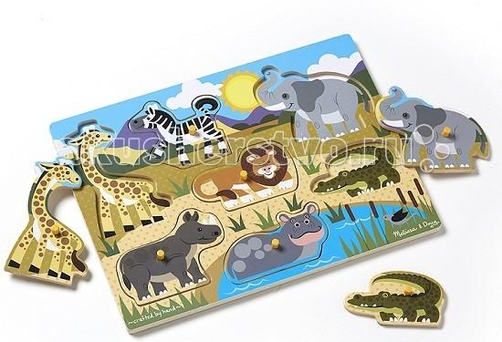 Деревянные игрушки Melissa & Doug Мои первые пазлы Сафари 7 элементов пазлы melissa