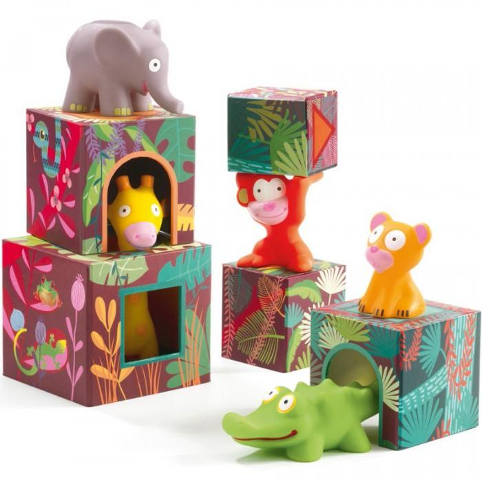 Купить Развивающие игрушки, Развивающая игрушка Djeco Кубики-пирамидка Большие Джунгли