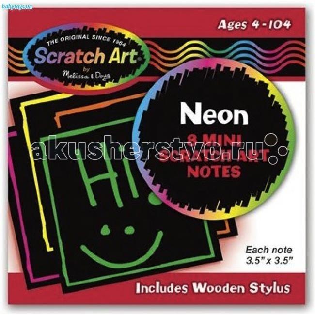 Наборы для творчества Melissa & Doug Scrach art Неоновые мини - стикеры