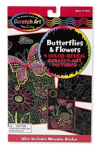 Наборы для творчества Melissa & Doug Scrach art Цветы и бабочки
