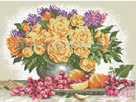 Molly Мозаичная картина Цветы и фрукты 40х50 смМозаичная картина Цветы и фрукты 40х50 смМозаичная картина Molly Цветы и фрукты 32 цвета - оригинальный набор, позволяющий создать первую картину, благодаря поэтапной выкладке мозаикой полотна.    В наборе:    Тканевый холст с клеевым слоем и с нанесенной схемой рисунка;  Металлический пинцет;  Пластиковый контейнер для элементов мозаики;  Специальный карандаш;  Клей-липучка для карандаша;  Комплект разноцветных мозаичных элементов диаметром 2,5 мм;   Размер: 40 х 50 см Количество цветов: 32 Уровень сложности: сложный<br>