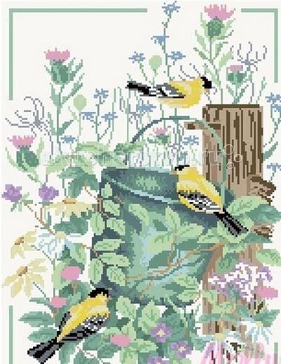 Творчество и хобби , Картины своими руками Molly Мозаичная картина Щеглы в саду 40х50 см арт: 63054 -  Картины своими руками