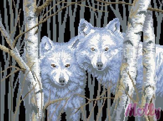 Творчество и хобби , Картины своими руками Molly Мозаичная картина Белые волки 40х50 см арт: 63066 -  Картины своими руками