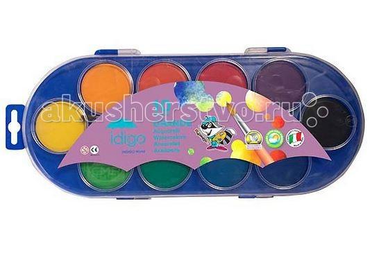 Краски Idigo Акварель с кистью 10 цветов