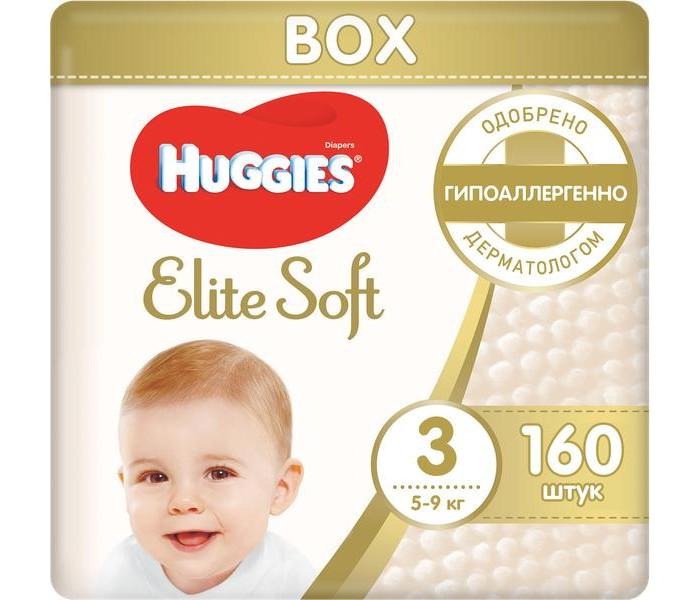 Huggies Подгузники Elite Soft 3 (5-9 кг) 160 шт.Подгузники Elite Soft 3 (5-9 кг) 160 шт.Подгузники Elite Soft содержат 100% натуральный хлопок.  Инновационная разработка компании – супер-мягкий слой «Текстор» со специальными подушечками обеспечивают невероятную мягкость продукту и создают нежную преграду между кожей малыша и жидким стулом.   Единственный подгузник со впитывающими мягкими подушечками.  Для защиты и заботы о коже малыша.  Преимущества: Впитывающие каналы уменьшают набухание и провисание подгузника Специальный внутренний кармашек помогает предотвратить протекание Мягкие экстра-эластичные поясок и застежки для отличной посадки Пористые материалы позволяют коже дышать Индикатор влаги подскажет, когда придет время сменить подгузник Дизайн от Disney© с Винни-Пухом  Наш самый мягкий подгузник внутри и снаружи!  Подгузники Huggies Elite Soft (Хаггис Элит Софт) содержат «дышащие» материалы, не вызывают опрелостей и раздражения, не натирают, моментально впитывают влагу, помогая сохранить кожу сухой, застежки-липучки удобно застегиваются. Подходят для мальчиков и девочек. Упаковка бокс - запас на месяц!  Рекомендуется менять подгузник каждые 3 часа для лучшей заботы о Вашем малыше.<br>