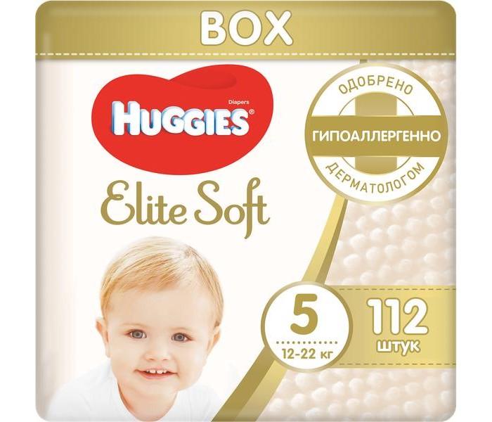 Huggies Подгузники Elite Soft 5 (12-22 кг) 112 шт.Подгузники Elite Soft 5 (12-22 кг) 112 шт.Подгузники Elite Soft содержат 100% натуральный хлопок.  Супер-мягкий слой (без подушечек) обеспечит малышу максимальный комфорт.  Особенности: Подгузник содержит натуральный 100%-ный хлопок Уникальная мягкость Особенная улучшенная мягкость внутри подгузника Новые мягкие подушечки создают надежную преграду между кожей малыша и жидким стулом Абсолютная впитываемость  Новый супер мягкий слой SoftAbsorb впитывает жидкий стул и влагу за секунды, помогая сохранить кожу малыша сухой Идеальное прилегание Суперэластичный поясок обеспечивает плотное, но вместе с этим ультрамягкое прилегание к коже малыша Удобные застежки легко застегиваются в любом месте подгузника Натуральные материалы Натуральный 100%-ный хлопок Технология производства с использованием гиппоаллергенных пористых материалов позволяет коже малыша дышать Индикатор влаги Цвет индикатора темнеет, когда приходит время сменить подгузник  Huggies Elite Soft* – нежные, как мамино прикосновение!  Рекомендуется менять подгузник каждые 3 часа для самой лучшей заботы о Вашем малыше.<br>