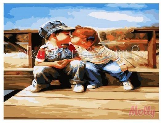 Творчество и хобби , Картины по номерам Molly Картина по номерам Детский поцелуй 40х50 см арт: 63291 -  Картины по номерам