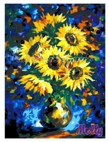 Картины по номерам Molly Картина по номерам Подсолнухи на синем 40х50 см картины в квартиру картина etude 2 102х130 см