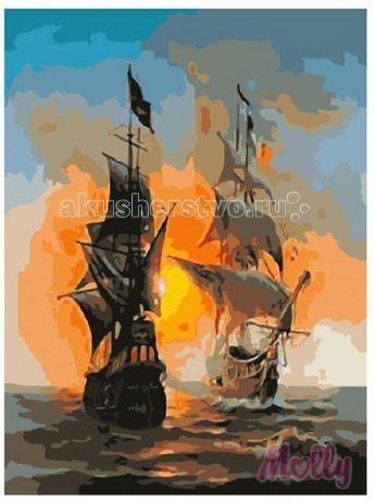 Картины по номерам Molly Картина по номерам Морской бой 40х50 см картины в квартиру картина etude 2 102х130 см