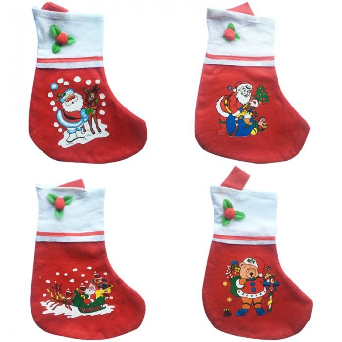 Новогодние украшения Веселый хоровод Подарочный Рождественский мешок в форме носка 35 см