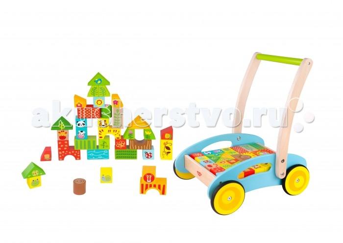 Деревянная игрушка Tooky Toy Тележка с кубиками