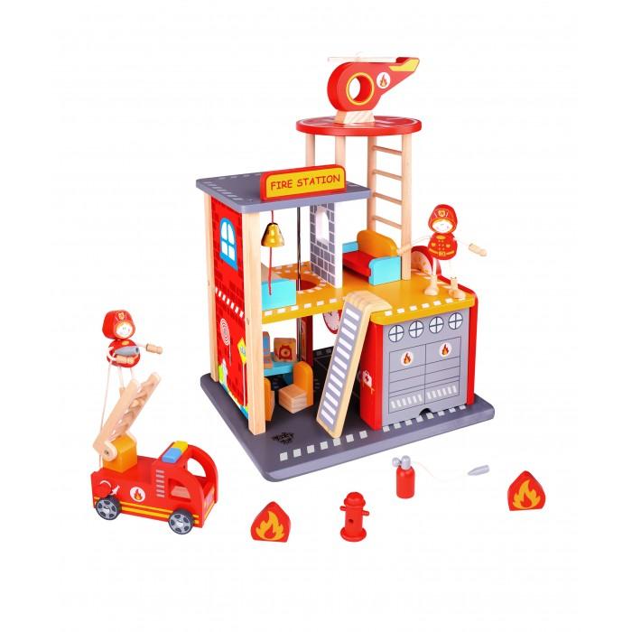 Деревянная игрушка Tooky Toy Набор Пожарная станция