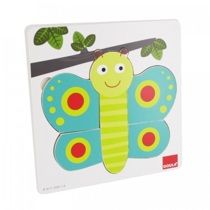 Деревянные игрушки Goula Пазл трехуровневый Бабочка
