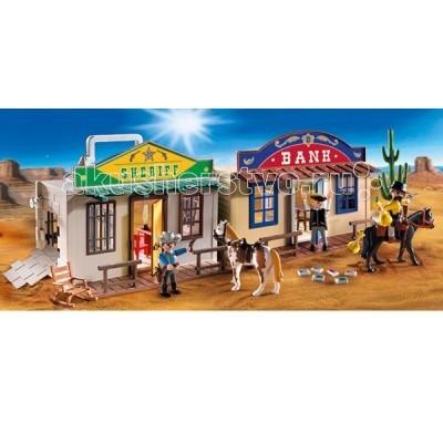 Конструктор Playmobil Возьми с собой: Дикий ЗападВозьми с собой: Дикий ЗападВозьми с собой: Дикий Запад – игрушка, мимо которой ребенок не сможет пройти.   Игровые наборы Playmobil включают в себя банк и офис шерифа.  В банке хранятся денежные средства Дикого Запада, и владелец спокоен за сохранность всех ценностей, ведь его банк расположен рядом с шерифом, поэтому переживать вроде бы не за что, но в камере сидят грабители и неизвестно, что они задумали.   Любители легкой наживы могут проломить или подкопать стену и выбраться наружу, и тогда банк подвергнется их нападению.  Шериф должен следить за порядком и не всегда сидит в конторе, поэтому стены камеры должны быть прочными, у него есть помощники, которые занимаются охраной бандитов.   Впереди перед обеими конторами есть место для привязи лошадей.  У шерифа пегая лошадка, а у банкира красная. В середине конторы шерифа видно стол и стулья.  В конструкторы входит два здания (банк и шериф), две лошади со снаряжением и три фигурки. Ребенок сможет устроить самое настоящее приключение по поимке грабителей и их охране.  Игрушка Playmobil учит ребенка быть внимательным, уважать закон и не брать чужого.  Продукция сертифицирована, экологически безопасна для ребенка, использованные красители не токсичны и гипоаллергенны.<br>