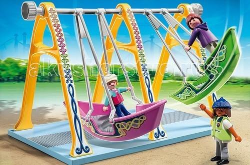 Конструктор Playmobil Парк Развлечений: Аттракцион ЛодкаПарк Развлечений: Аттракцион ЛодкаПарк Развлечений: Аттракцион «Лодка» может стать отдельной игрушкой или частью большого набора, если собрать несколько игрушек из этой серии.  Интересные игровые наборы Playmobil предназначены для создания парка развлечений.   На лодочках установлено два отделения для катания.  Одна лодочка окрашена в зеленый цвет, а вторая в вишневый.  Если крепко держаться руками за канаты, можно даже сделать круг вокруг оси и перевернуться вверх ногами.  Двое игрушечных малышей катаются, а работник парка следит за порядком.  В конструкторы входит карусель лодочка, две фигурки детей и одна фигурка работника парка.  Ребенок может установить карусель лодочку в своем парке развлечений среди других качелей и начать продавать билеты желающим покататься.  На лодочках можно прокатиться с ветерком, и установленные фигурки человечков будут крепко держаться руками за тросы.   Можно раскачивать качели до получения кругового движения, и игрушки окажутся вверх ногами, но если игрушка закреплена правильно она не упадет.  Набор Playmobil учит ребенка быть внимательным и сосредоточенным на одном предмете, он развивает образное мышление и фантазию.   Красивые и яркие цвета помогают в развитии зрительного восприятия.  Ребенок может придумать разные дизайнерские решения для своего парка, установить деревья и скамейки, у него будут развиваться логическое мышление и причинно-следственные понятия.  Продукция сертифицирована, экологически безопасна для ребенка, использованные красители не токсичны и гипоаллергенны.<br>