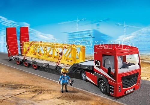Конструктор Playmobil Стройка: Большой грузовикСтройка: Большой грузовикСтройка: Большой грузовик - красивый новый транспортер, который может перевозить большие грузовики и длинные конструкции для строительных работ.  На него можно погрузить с помощью крана (арт. 5466 pm) или гигантского самосвала (арт. 5468 pm).   Этот автомобиль довольно большой, его размеры составляют 66*13*15 см.  В кабине водителя есть два сидячих и одно лежачее место.  Игровые наборы Playmobil комбинируются с другими игрушками от этого же производителя.  Водитель может сидеть за рулем или руководить разгрузкой платформы.  Крыша на автомобиле съемная, так же можно открыть двигатель. В конструкторы входит большой автомобиль, фигурка мужчины, трактор, прицеп, элемент крана, 2 троса, шлем, ящик, солнцезащитные очки для работника и радио.  Ребенок приезжает на строительный склад, и загружает необходимые для стройки конструкции или технику.  По дороге грузовой автомобиль едет осторожно, так как у него большой прицеп и для поворота нужно много места.  В кабине могут находиться две фигурки.   Чтобы груз хорошо закрепился и прочно держался, его пристегивают тросами. Игрушка от Playmobil учит ребенка быть внимательным и сосредоточенным, знакомит его с новой профессией и развивает зрительное восприятие.  Во время игры у крохи развивается образное мышление и логика.  Продукция сертифицирована, экологически безопасна для ребенка, использованные красители не токсичны и гипоаллергенны.<br>
