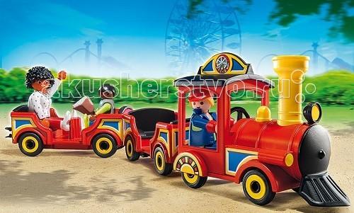 Конструктор Playmobil Парк Развлечений: Детский поездПарк Развлечений: Детский поездПарк Развлечений: Детский поезд поможет крохе разыграть множество сюжетов.  Игровые наборы Playmobil интересны для создания различных игровых моментов.  Длинный поезд движется на колесах, он очень похож на настоящий аттракцион, который ребенок мог увидеть в парке во время прогулки. В кабине сидит кондуктор с красной фуражкой на голове и держит руль паровоза.   К паровозу прицеплены два вагона, в них могут поместиться 4 пассажира.  Сидения расположены в каждом вагоне друг напротив друга.  В последнем вагоне едут два пассажира – взрослый и ребенок Можно изменить конструкторы и прикрепить вагоны по-другому, как этого захочется самому ребенку. Каждый вагон имеет специальное сцепление, чтобы вагоны прочно держались друг за друга.  Впереди поезда расположен резак, который расчищает заснеженную дорогу.  Крышку с мотора можно приподнять и увидеть внутреннее устройство. В набор детского поезда входят паровоз, два вагона, фигурки двух пассажиров и водителя. Ребенок может собрать поезд, прицепив к паровозу вагоны.   Игрушка от Playmobil развивает усидчивость, внимание и воображение.  Продукция сертифицирована, экологически безопасна для ребенка, использованные красители не токсичны и гипоаллергенны.<br>