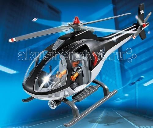 Конструктор Playmobil Полиция: Вертолет специального назначенияПолиция: Вертолет специального назначенияПолиция: Вертолет специального назначения откроет ребенку огромный простор для игр.  Полиция объявила в розыск убежавшего из мест заключения преступника, он очень опасен и вооружен.  Чтобы найти беглеца, самые опытные сотрудники полиции идут по его следу.  Вертолет будет помощником в поисках, от его прожекторов не уйдет ни один нарушитель.   В кабине могут сидеть двое - один будет управлять вертолетом, а второй просматривать проплывающий под ними пейзаж.  Используя игровые наборы Playmobil, можно быстро организовать преследование и поймать сбежавшего человека, пока он не достиг населенного пункта, в котором сможет спрятаться.   Сверху на вертолете два больших винта, крутящихся механически.  Пилот вертолета со шлемом на голове выглядывает в открытую дверь.  Прожектор находится под днищем вертолета.  Лобовое стекло разделено на две части.  В конструкторы входит вертолет и фигурка пилота-полицейского. Игрушка помогает ребенку развиваться, учиться уважать закон и выполнять определенные установленные правила, она дисциплинирует ребенка и показывает, что нарушать закон неправильно.  В процессе игры у крохи развивается логическое и образное мышление, любознательность.  Продукция сертифицирована, экологически безопасна для ребенка, использованные красители не токсичны и гипоаллергенны.<br>