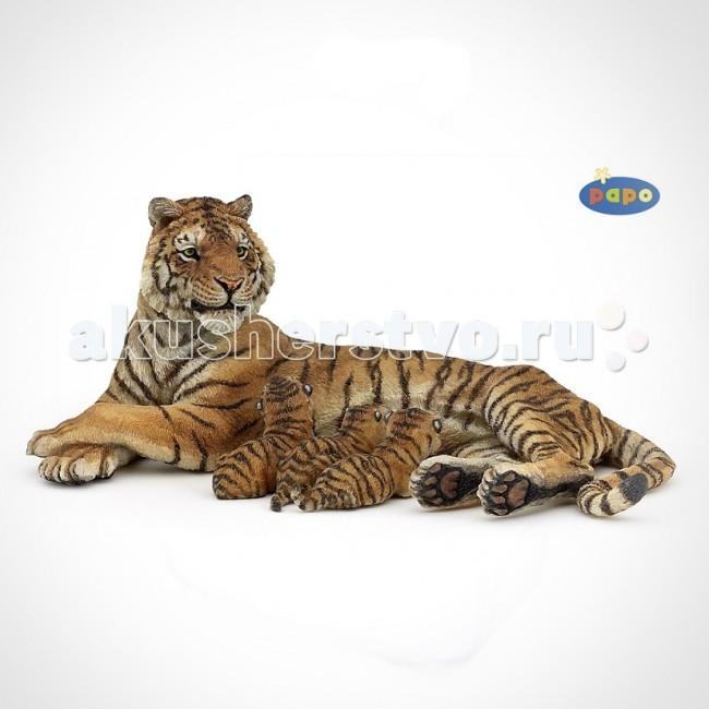 Игровые фигурки Papo Игровая реалистичная фигурка Тигрица лежащая с тигрятами
