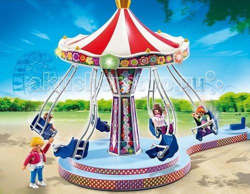 Конструктор Playmobil Парк Развлечений: Аттракцион КарусельПарк Развлечений: Аттракцион КарусельПарк Развлечений: Аттракцион «Карусель» поднимет настроение ребенка.  Красивые игровые наборы Playmobil предназначены для создания игровой сцены с катанием на карусели.  Ребенок хочет иметь свой парк развлечений и катать на каруселях и качелях свои игрушки, и этот набор ему поможет.  Светящаяся огнями карусель станет центральной в его новом парке отдыха, на ней может покататься целая игрушечная семья.  Конструкторы позволят поставить игрушку в любое место и рассадить на разные места фигурки детей.   Игрушечный работник парка запустит с помощью толчка рукой карусель, и она закрутится по кругу.  Детские фигурки усаживаются по местам так, чтобы не выпасть.  К игрушке можно подсоединить моторчик (арт. 5556 pm), и тогда движение будет автоматическим, и карусель оживет. В набор Playmobil входит карусель, три фигурки детей и фигурка работника парка.  Ребенок в любом месте может установить игрушку и катать своих игрушечных друзей, представляя себя на их месте. Карусель научит ребенка фантазировать и придумывать игры, развивает образное мышление и воображение.   Малыш учится сосредотачиваться на одном предмете, а яркие краски игрушки развивают зрительное восприятие. Для работы огней на карусели необходимо приобрести 3 АА батарейки по 1,5V.   Продукция сертифицирована, экологически безопасна для ребенка, использованные красители не токсичны и гипоаллергенны.<br>