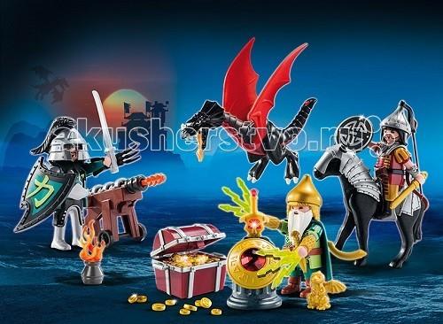 Конструктор Playmobil Набор календарь Битва за сокровищаНабор календарь Битва за сокровищаНабор календарь Битва за сокровища развлечет ребенка и поднимет ему настроение. Интересные игровые наборы Playmobil предназначены для 2-4 детей.  В подземелье, глубоко в вулкане спрятаны сокровища.  Два воина с драконом хотят проникнуть в пещеру и завладеть богатствами.  В охраняемом гномом волшебником сундуке лежат драгоценные камни и золотые сокровища.   Гном умеет увеличивать свои руки до огромных размеров и прикрывать сокровища.  Кроме сокровищ в пещере спрятан волшебный меч, мечта каждого воина.  Воины взяли закованную в доспехи лошадь и большую пушку, они полностью снаряжены для атаки гнома - у них есть луки и стрелы.  В конструкторы включены 2 фигурки воинов с драконом, боевой гном, лошадь.  Так же в аксессуарах есть диорама картонная и 3 крепления для мечей, 2 крючка и 3 шлема, 3 щита и 4 защитных пластины для запястья.  В наборе от Playmobil есть и оружие - 4 меча и один в форме серпа, кинжал, доспехи коня и карточная игра с драконом, лук и колчан со стрелами, стенд для оружия, двойной меч, копье, звезда для бросания.   Огненный жезл, пушка с ядром, коготь на руку, сосуд с огнем, плащ, скала, сундук, золотые монеты и чудо лампа, золотой дракон и фонарь, так же входящие в состав набора, делают игру еще увлекательнее. Игрушка учит ребенка быть внимательным и усидчивым, сосредоточенным, логически мыслить.  Продукция сертифицирована, экологически безопасна для ребенка, использованные красители не токсичны и гипоаллергенны.<br>