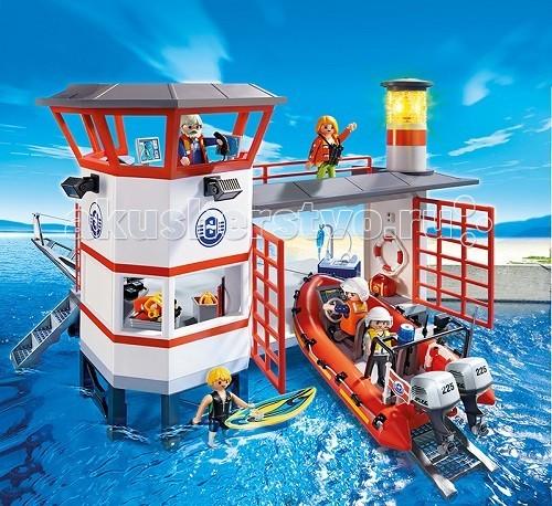 Конструктор Playmobil Береговая охрана: Береговая станция с маякомБереговая охрана: Береговая станция с маякомБереговая охрана: Береговая станция с маяком - интересная игровая композиция, с которой можно играть в воде.  Набрав воду в ванную или в бассейн, ребенок сможет спускать по небольшому пандусу лодку, для этого необходимо использовать прикрепляемую к надувной лодке лебедку.   С помощью той же лебедки ребенок сможет поставить на стоянку свой водный транспорт.  Если игра происходит на берегу реки или возле водной глади моря или озера, можно установить маяк, указывающий дорогу моряку.  Спасательная лодочная экспедиция имеет полную комплектацию принадлежностей, необходимых для спасения утопающих.  Отправившись в поездку по вызову, на лодку можно установить мотор или грести веслами.   Маяк при помощи светодиодов загорается четырьмя фонарями, с последовательным включением.  После каждых 2-х минут горения будет происходить автоматическое отключение света.  В набор береговой станции от Playmobil входит надувная лодка, спасатель, маяк, стоянка, лебедка.   Размер игрушки составляет 39*54*29 см Лодка может быть усовершенствована при помощи специального подводного двигателя. Ребенок может при желании переодеть драйвером фигурку спасателя и устроить катание на воде.   Такие конструкторы развивают фантазию ребенка, учат его быть смелым и отважным, так же игрушка знакомит малышей с работой спасателя.  Ребенок узнает, для чего на море плавают люди в специальной одежде, и чем они могут помочь человеку.  Для включения маяка необходимы 2 микробатарейки 1,5 V.  Продукция сертифицирована, экологически безопасна для ребенка, использованные красители не токсичны и гипоаллергенны.<br>