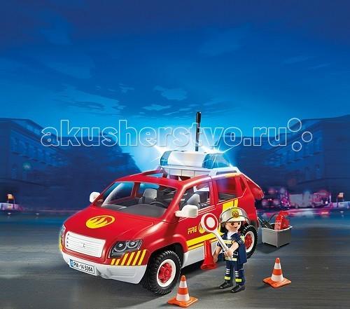 Конструкторы Playmobil Пожарная служба: Пожарная машина командира со светом и звуком набор playmobil пожарная служба пожарная машина со светом и звуком 28 см красный 5363