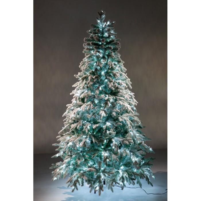 Искусственные елки Crystal Trees Искусственная Ель Неаполь заснеженная с вплетенной гирляндой 150 см