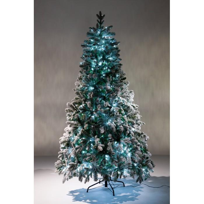 Картинка для Crystal Trees Искусственная Ель Габи заснеженная с вплетенной гирляндой 150 см