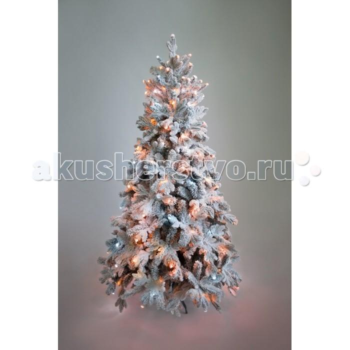 Картинка для Crystal Trees Искусственная Ель Габи заснеженная с вплетенной гирляндой 180 см