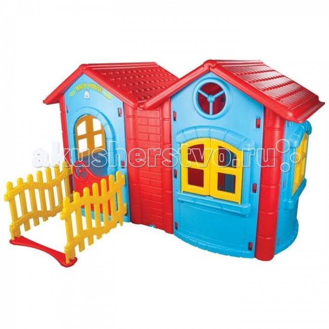 Pilsan Игровой домик Magic DoubleИгровой домик Magic DoubleДетский игровой дом Pilsan Magic Double предназначен для детей от 2 лет. Представляет собой домик с окошками и дверцей, оформлен в нескольких цветах. Вашему ребенку будет весело играть в данном домике одному и в компании детей.   Ролевые игры позволяют развивать воображение, коммуникабельность, речевое и эмоциональное развитие ребенка.  Эргономичный дизайн, легко собирать и разбирать, прочный и безопасный.  Устойчив к атмосферным явлениям и осадкам.   Размеры: (шхдхв) 172х220х131 см.  Среди огромного количества детских игрушек выгодно отличается продукция турецкой компании Pilsan, которая является лидером в производстве крупногабаритных игрушек для детей разных возрастов. Продукцию компании Pilsan характеризует высокое качество, недаром лозунг компании звучит как «Quality in Toys» - «Качество в игрушках». Продуманный дизайн, тестирование, обеспечение контроля на всех стадиях производства подтверждает слоган компании. Все игрушки, производимые компанией Pilsan, отличаются высоким качеством, безопасны, не содержат вредных материалов и красителей, для производства используется экологически чистый пластик.<br>