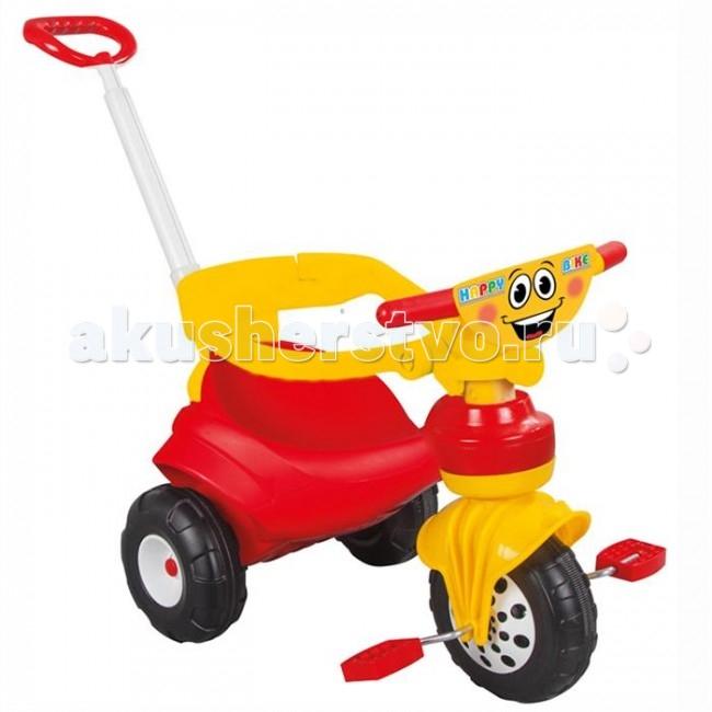 Велосипед трехколесный Pilsan Happy с ручкойHappy с ручкойВелосипед трехколесный Pilsan Happy c ручкой - станет прекрасным подарком для детей. Он очень удобный, яркий и обязательно понравится вашему малышу.   Широкие колеса обеспечивают устойчивость велосипеда.  Разъемный страховочный обод.  Игрушка выполнена из прочного экологически безопасного пластика с соблюдением самых высоких стандартов безопасности.  Размеры: (шхдхв) 39х99х88 см.  Среди огромного количества детских игрушек выгодно отличается продукция турецкой компании Pilsan, которая является лидером в производстве крупногабаритных игрушек для детей разных возрастов. Продукцию компании Pilsan характеризует высокое качество, недаром лозунг компании звучит как «Quality in Toys» - «Качество в игрушках». Продуманный дизайн, тестирование, обеспечение контроля на всех стадиях производства подтверждает слоган компании. Все игрушки, производимые компанией Pilsan, отличаются высоким качеством, безопасны, не содержат вредных материалов и красителей, для производства используется экологически чистый пластик.<br>