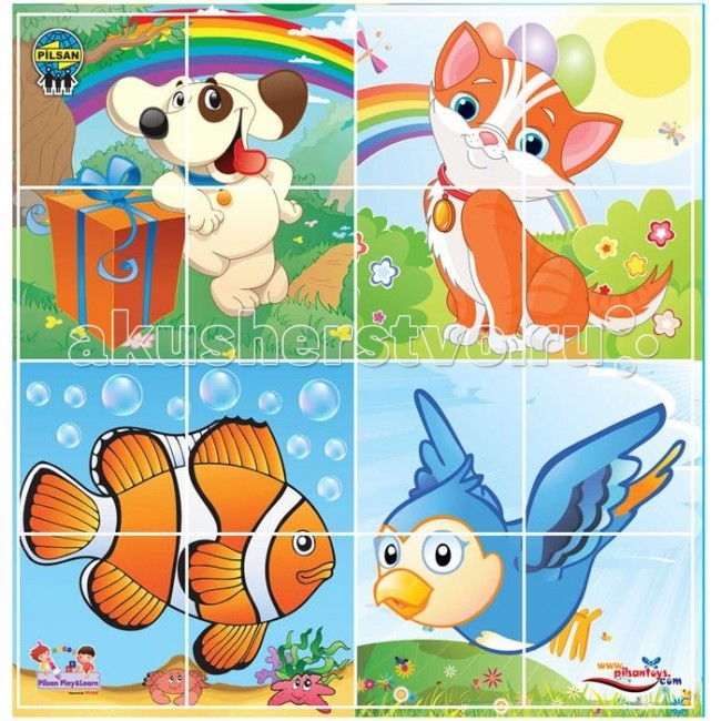 Пазлы Pilsan Puzzle 4X4 Animals