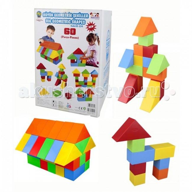 Конструктор Pilsan Геометрические фигуры 60 деталейГеометрические фигуры 60 деталейПредназначен для детей от 1 года. 30 деталей. Способствует умственному развитию. Увлекательный и развивающий. Развивает воображение и креативность ребенка. Подходит для групповых игр. Безопасные для здоровья ребенка материал и краска  Среди огромного количества детских игрушек выгодно отличается продукция турецкой компании Pilsan, которая является лидером в производстве крупногабаритных игрушек для детей разных возрастов. Продукцию компании Pilsan характеризует высокое качество, недаром лозунг компании звучит как «Quality in Toys» - «Качество в игрушках». Продуманный дизайн, тестирование, обеспечение контроля на всех стадиях производства подтверждает слоган компании. Все игрушки, производимые компанией Pilsan, отличаются высоким качеством, безопасны, не содержат вредных материалов и красителей, для производства используется экологически чистый пластик.<br>